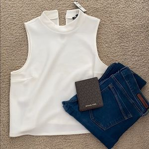 NWT White Tank Top with Small Collar